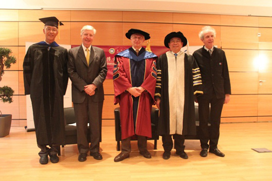 Chair Prof. Liu Liang, Prof. Sun Jianrong, with two Nobel Prize winners Prof. Jean-Marie Pierre Lehn, Prof. Jules Hoffmann and Prof. Alain Beretz, President of the University of Strasbourg